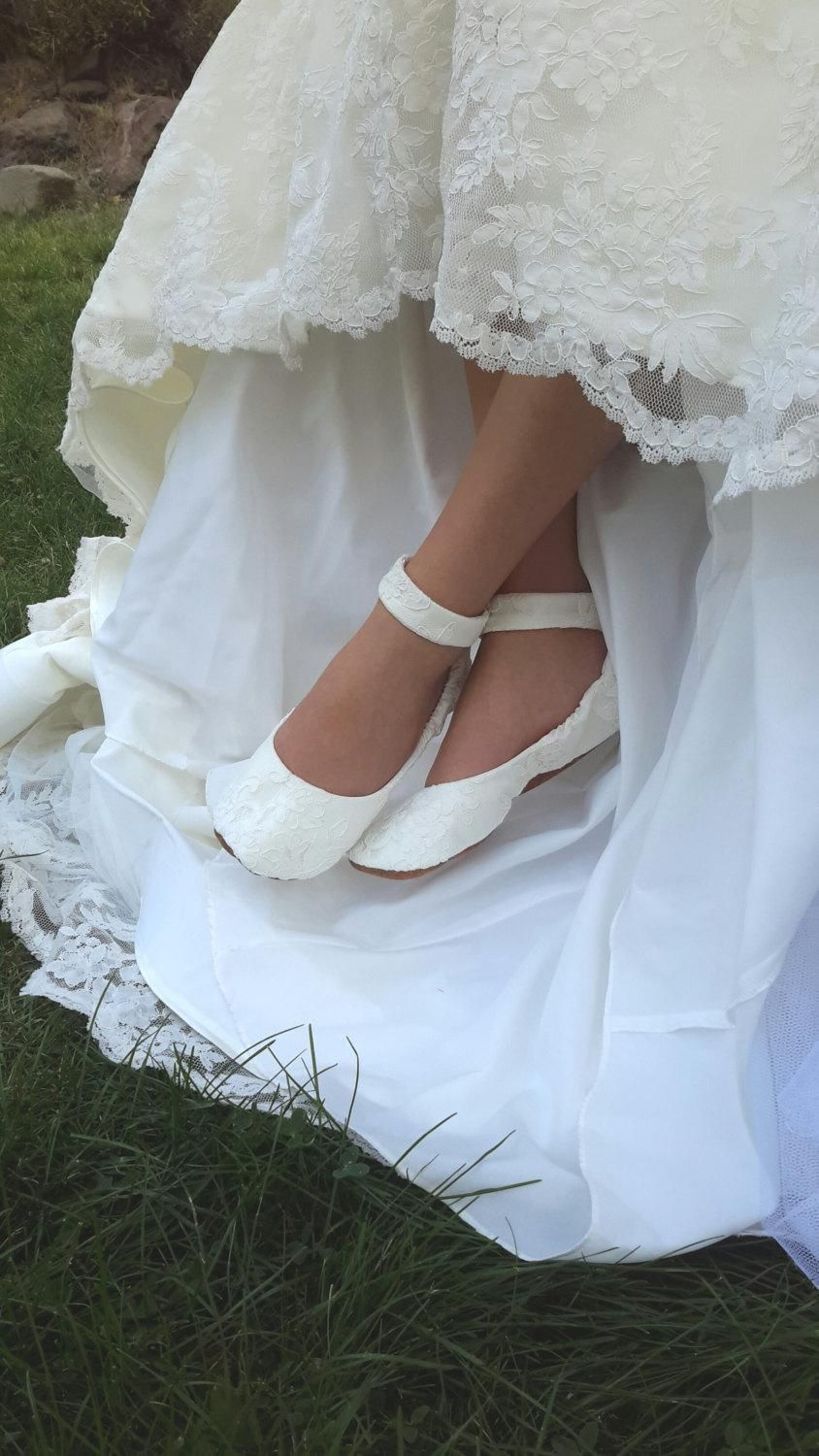 Lace Wedding Shoes with Ankle Strap, Flat Wedding Shoe, Lace ...