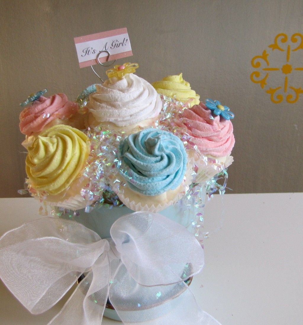 Sugar and spice and everything nice what a lovely way for Baby shower cupcake decoration ideas