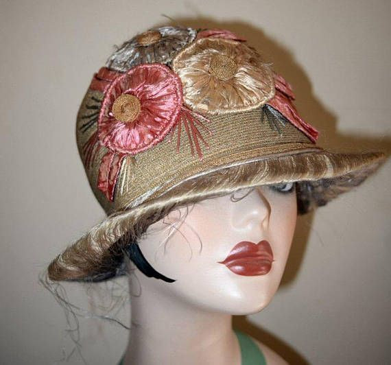 35ab2eb12 Vintage 1920's Straw and Floral Cloche Bucket Hat in 2019   Art Deco ...
