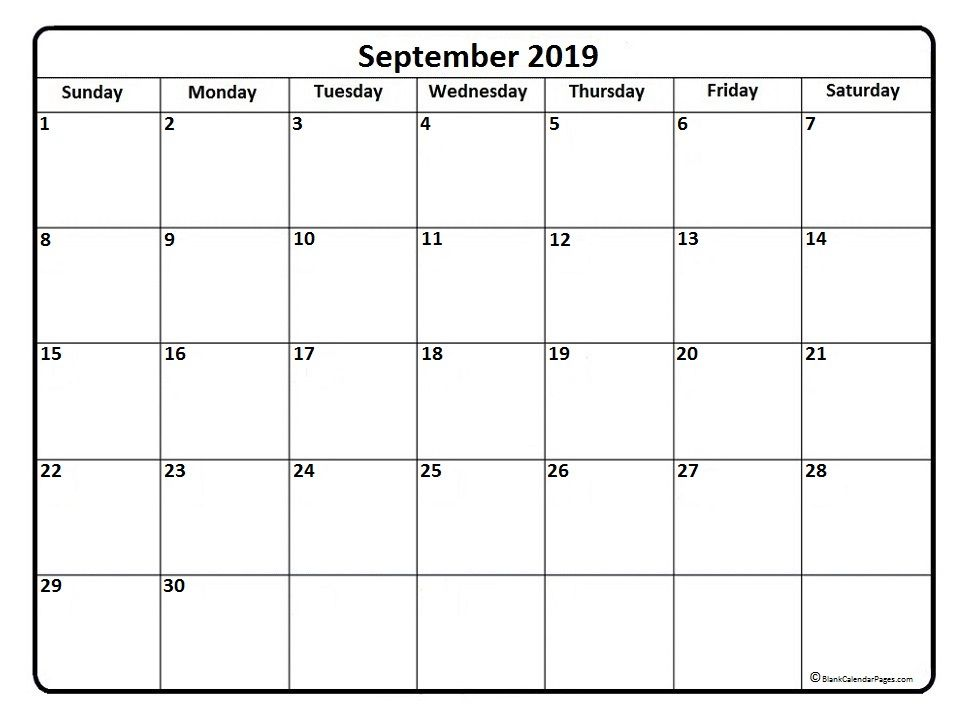 September 2019 Calendar Vertical Calendar 2019 Printable