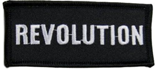 """[Single Count] Custom and Unique (1 1/2"""" by 3 1/2"""" Inches) Rectangle New World Order Biker Gang Revolution Text Iron On Embroidered Applique Patch {White & Black Colors} mySimple Products http://www.amazon.com/dp/B017V0M446/ref=cm_sw_r_pi_dp_Z-9exb012GGRX"""