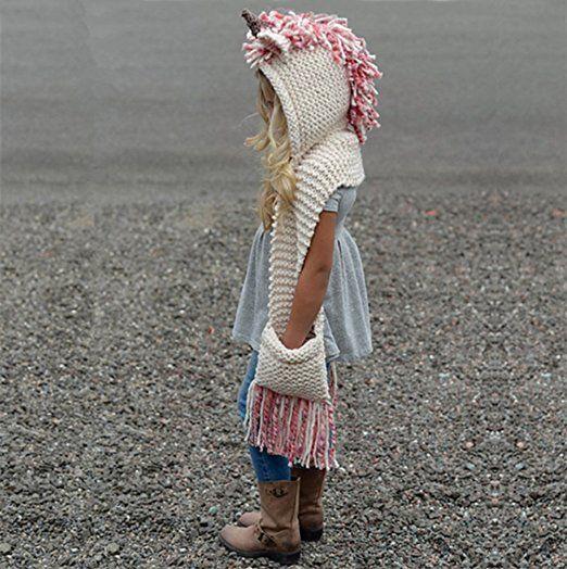 dd26d894d9e2a Tacobear Crochet Cartoon Unicorn Winter Hat with Scarf Pocket Hooded  Knitting Beanie Cosplay Photography  Amazon