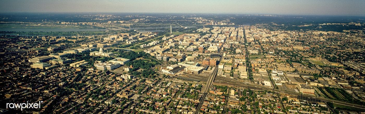 Aerial view of Washington, D C  in the 80s  Original image from