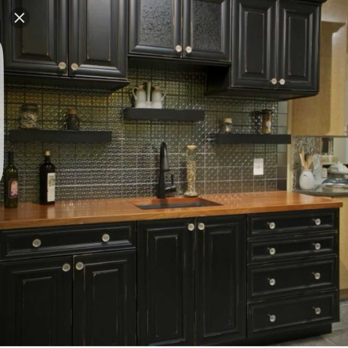 Butcher Block Countertop With Black Cabinets Wood Countertops Kitchen Kitchen Cabinets Black Kitchen Cabinets