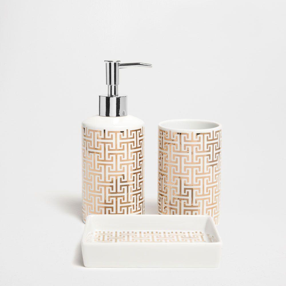 accessoires de bain motif doré | salle de bain | pinterest