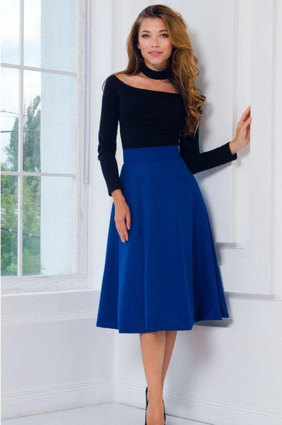 818faba04ab Blue Midi skirt Flared Viscose Woman skirt Royal Blue Half Circle Skirt