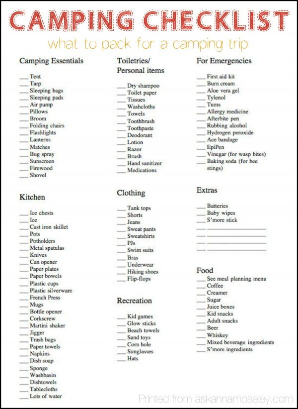Camping Checklist  What To Pack For A Camping Trip  Ask Anna