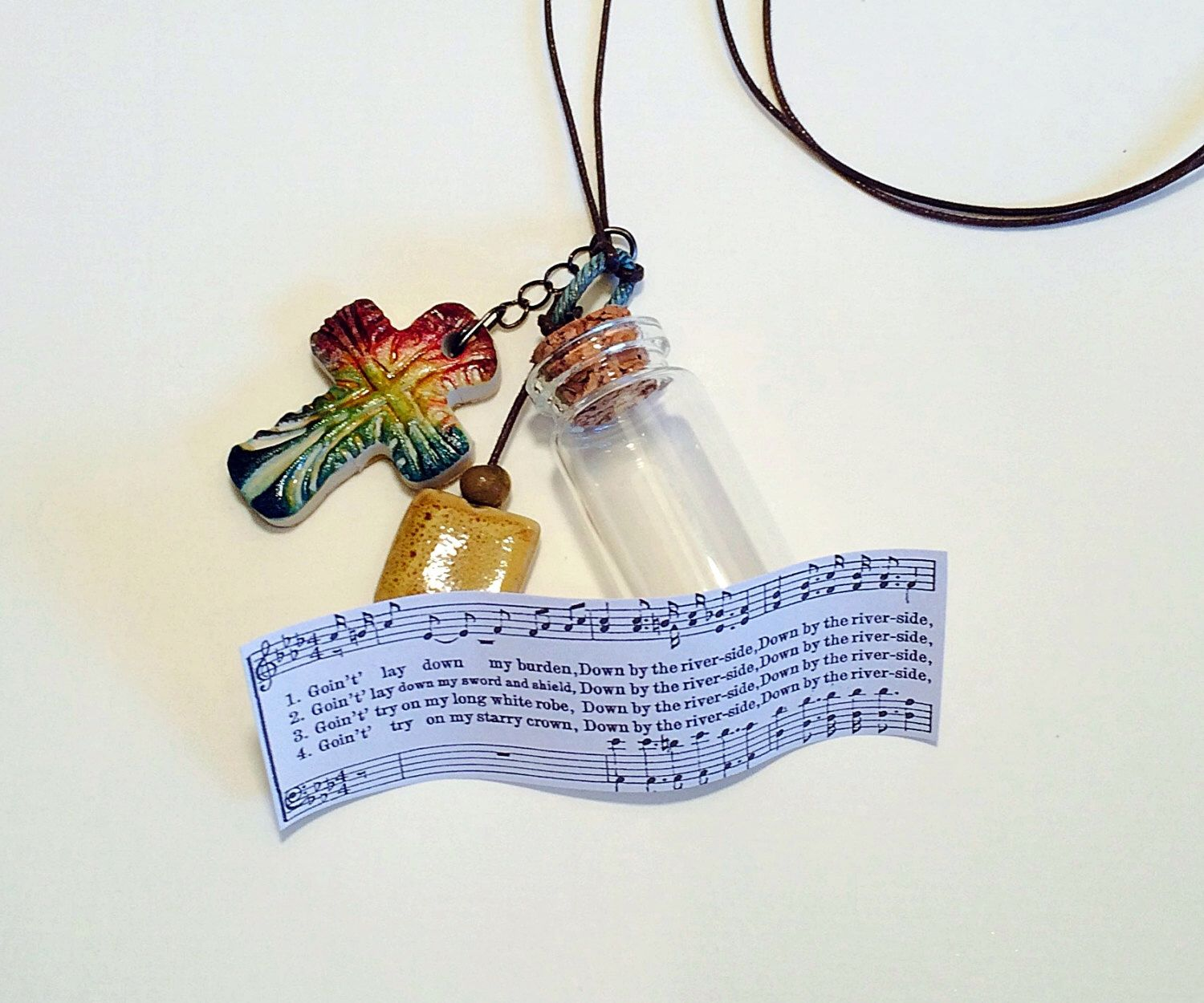 Gospel Necklace, Down By The River side, Spiritual, African American Hymn, Rustic Boho Colorful, Baptism, Unique Cross, Christian Jewelry by GospelHymns on Etsy https://www.etsy.com/listing/240158026/gospel-necklace-down-by-the-river-side