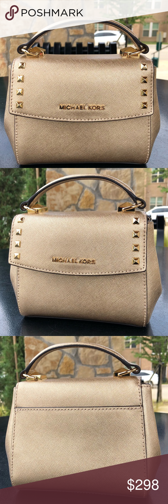 48582f8213b2 MIchael Kor Karla Mini Convertible Crossbody Gold Authentic, New With Tags, Karla  Mini Convertible Satchel Crossbody Leather Shiny, pale gold color Accented  ...