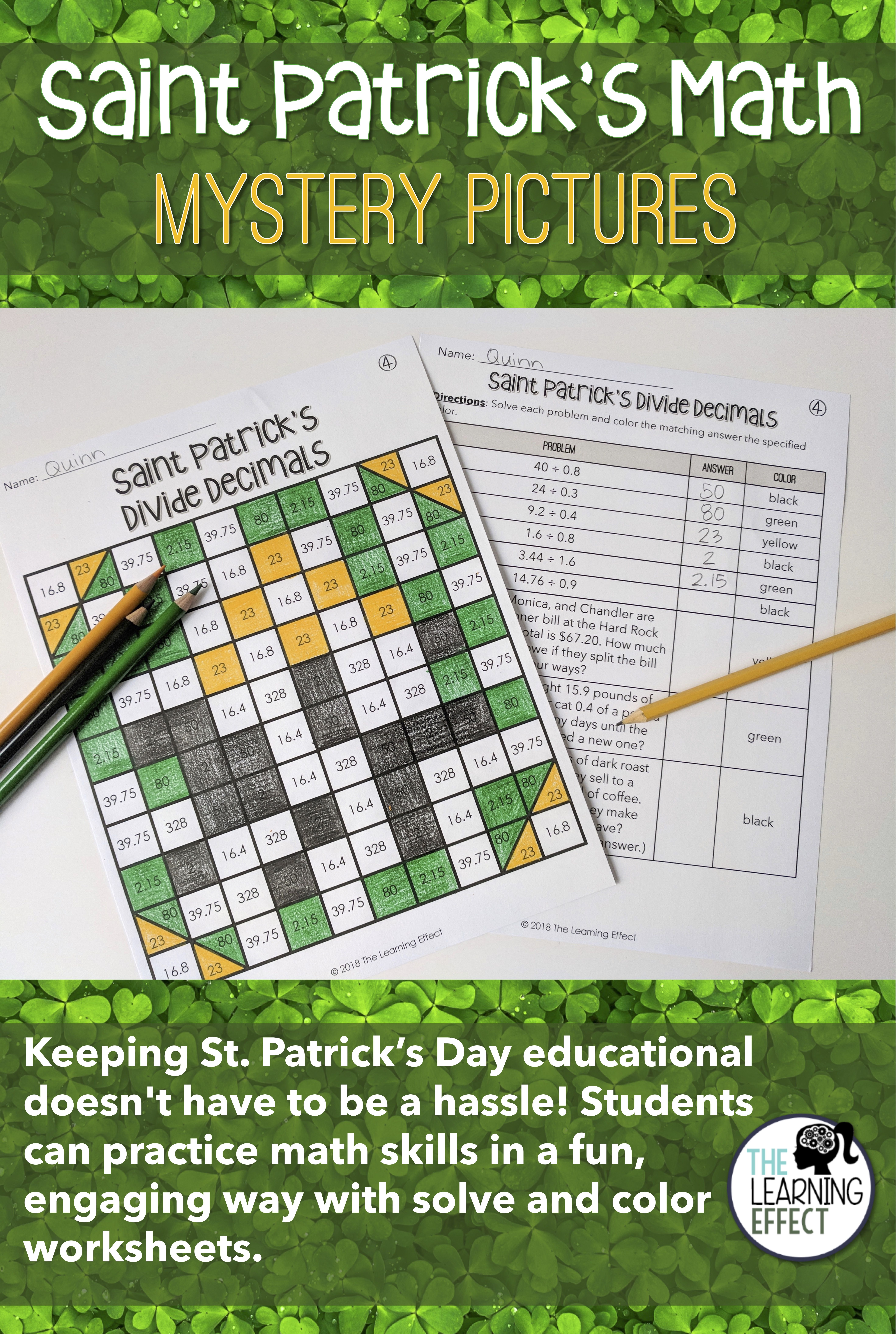 St. Patrick\'s Day Math Mystery Pictures | Dividing decimals ...