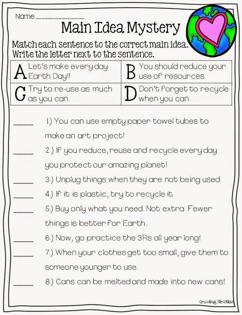 April Printables Math Ela Reading Main Idea Reading Classroom 3rd Grade Reading