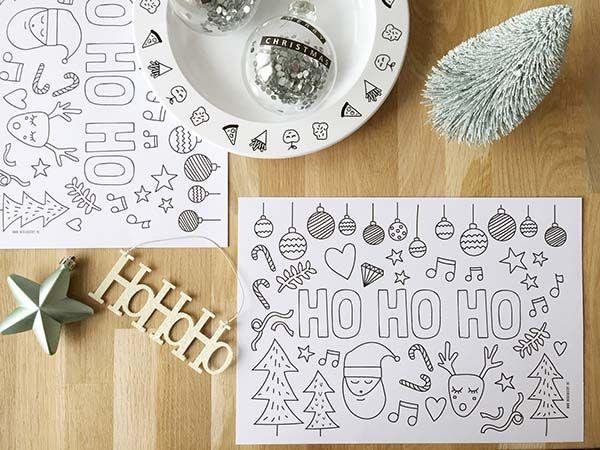 Kerst Printable Kleurplaat Of Placemat Voor Tijdens Het Kerstdiner
