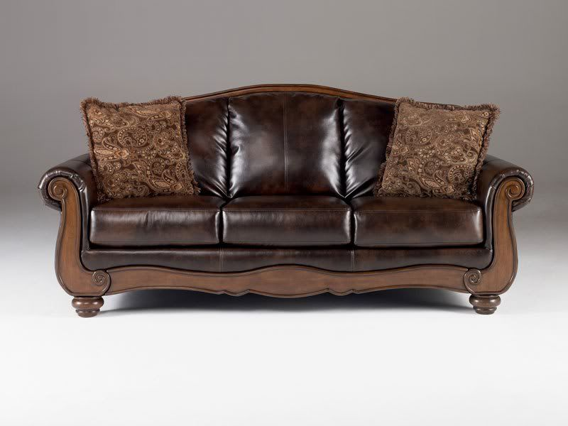 Montego Old World Wood Trim Faux Leather Sofa Couch Set Living
