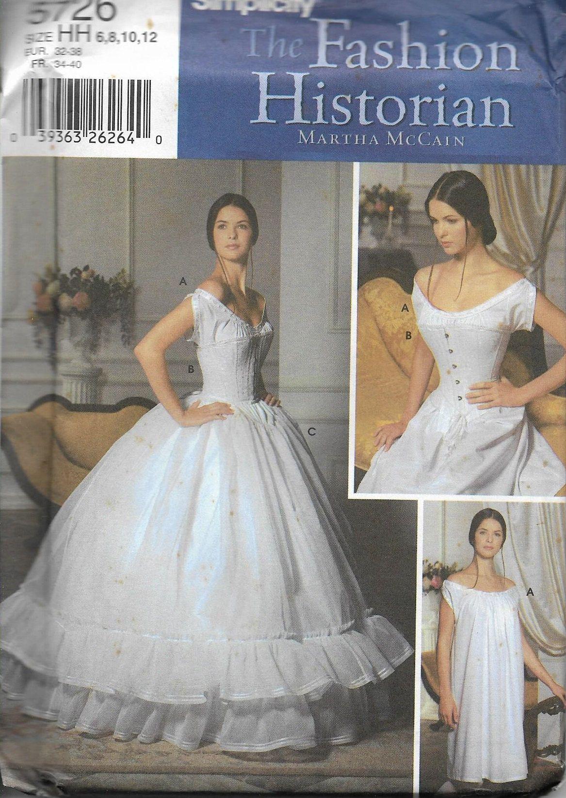 Undergarments for a line wedding dress  Simplicity  The Fashion Historian Martha McCain Corset Chemise