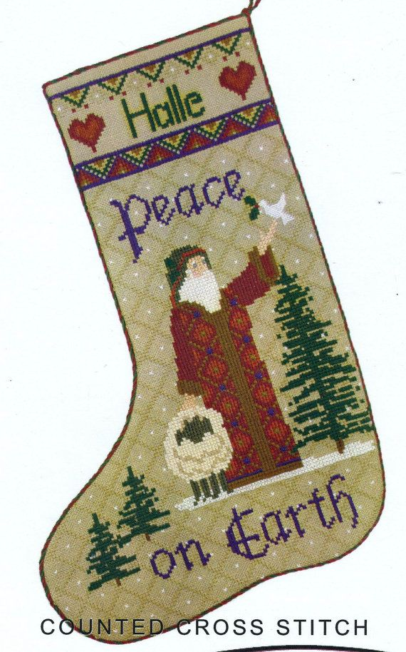 peace stocking by erica michaels counted cross stitch patternchart christmas stockings pinterest counted cross stitch patterns count and peace - Michaels Christmas Stockings