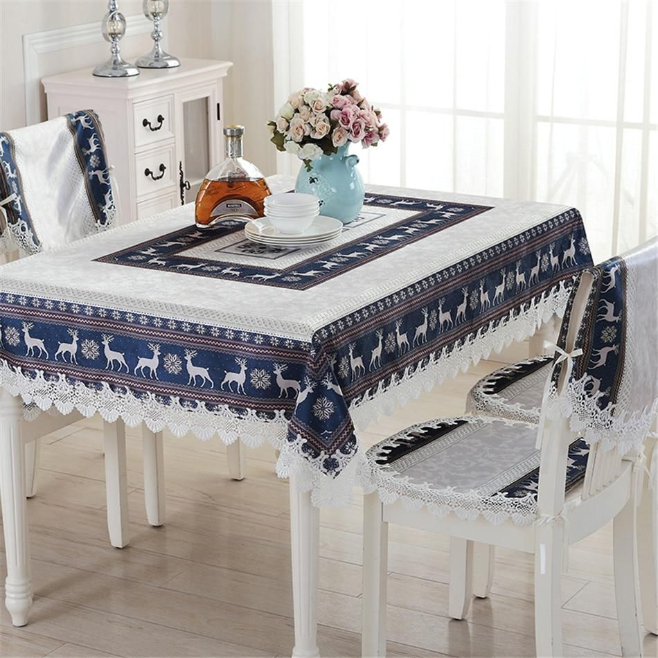 Lanweini Embroidered Tablecloths Cotton Linen Coffee Table Cloth For Table Cover Christmas Elk Tablecloth Cartoon Chair Cover Coffee Table Cloth Living Room Sets Furniture #table #cover #for #living #room