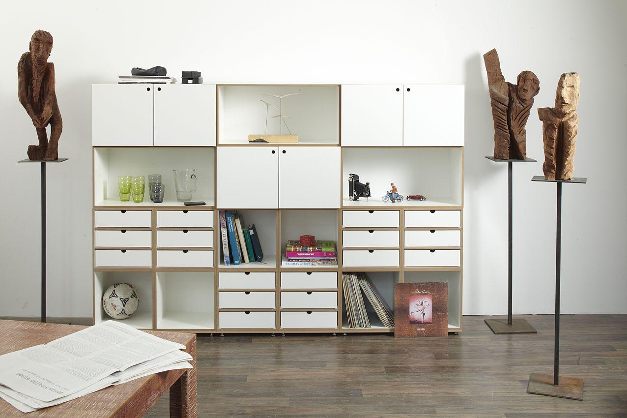 regalsystem mit t ren und schubladen einrichtung regal regal modulares regal und wohnzimmer. Black Bedroom Furniture Sets. Home Design Ideas