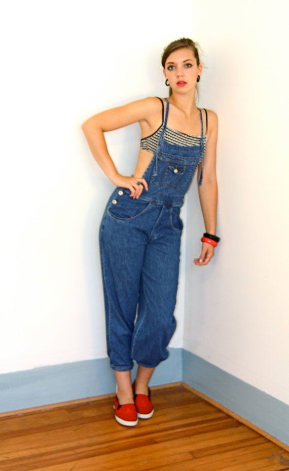 134fe7408a0f Vintage 80s Overalls Strappy Cross T Back Dark by posiesforlulu ...