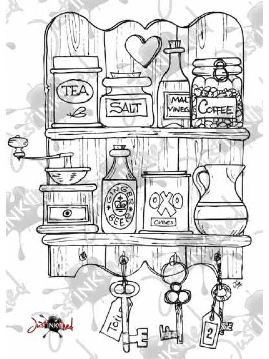 Digital Stamp Kitchen Shelves