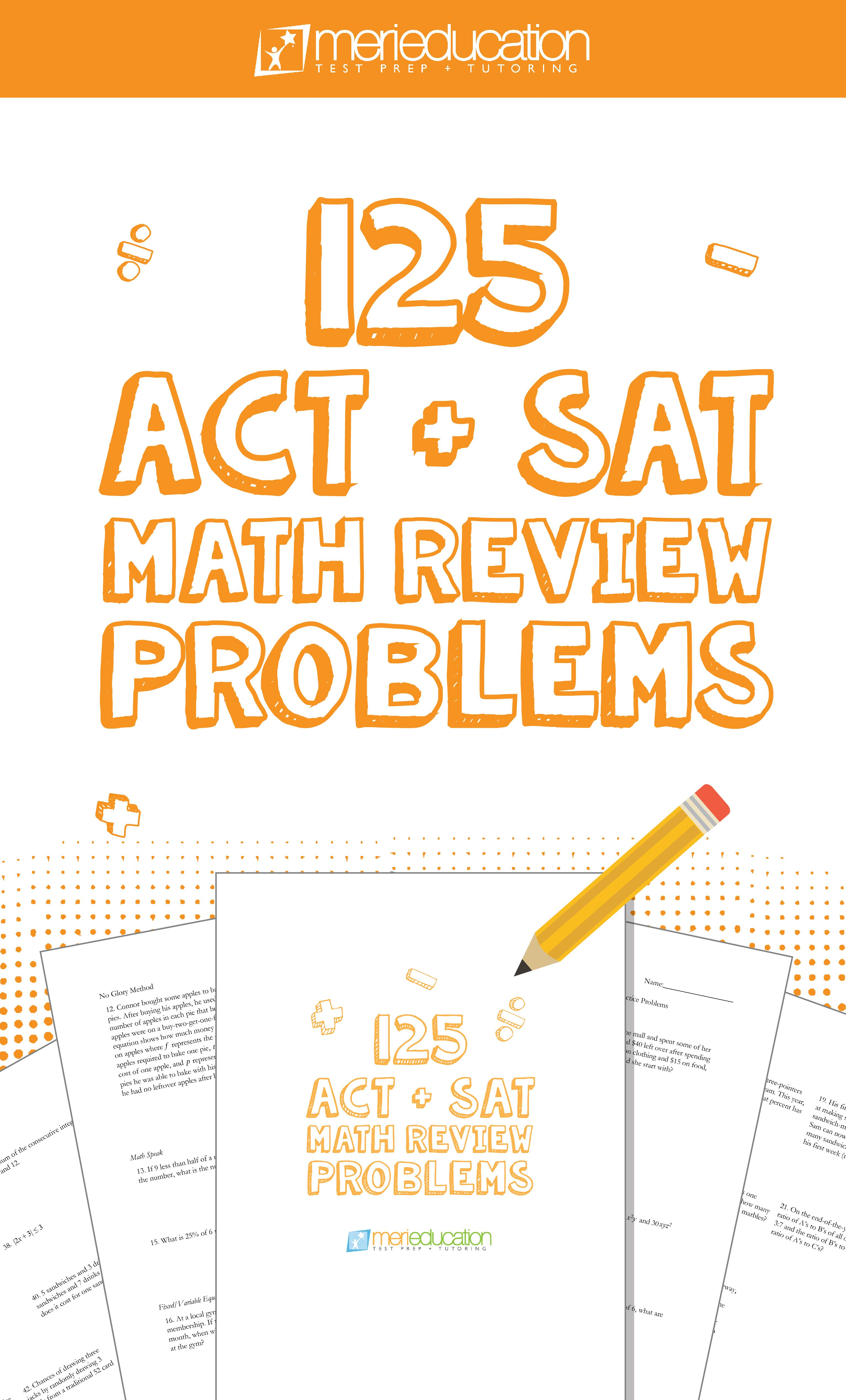 Download This Worksheet Containing 125 Act Sat Math