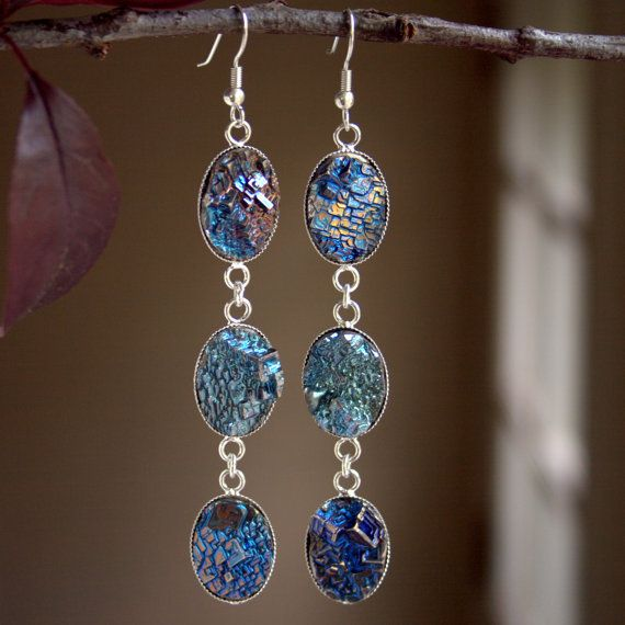 Bismuth Crystal Earrings Beautiful by bismuthcrystalarts on Etsy, $22.99