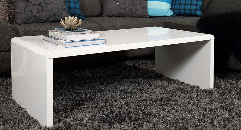 the luca white gloss coffee table has smooth curves and a sleek