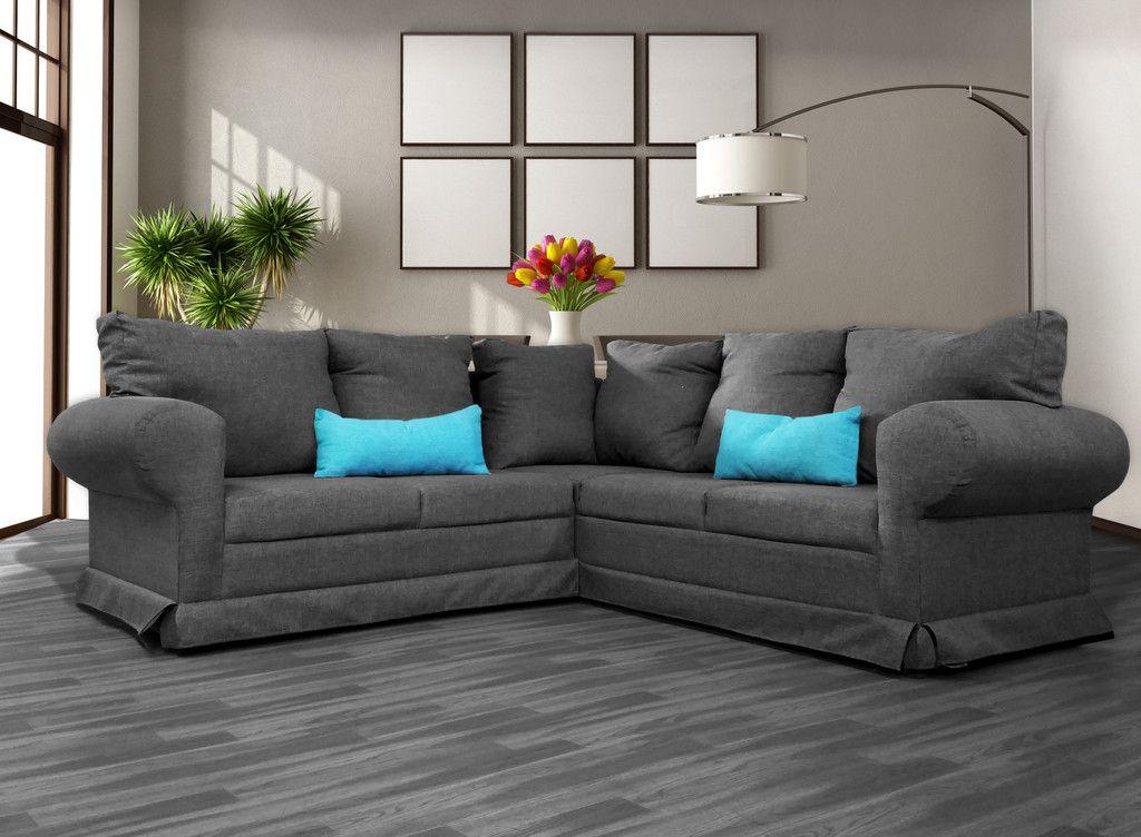 Sala skerrie vintage lino gris salas pinterest gris for Sala gris con azul