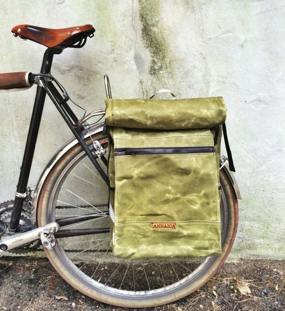 Green waxed canvas pannier backpack bicycle bag door anhaicabagworks, $218.00