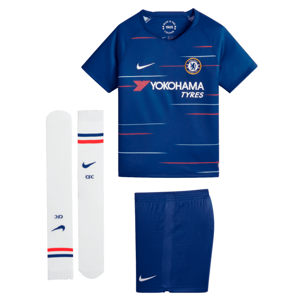 fa7679f2ec4 Nike Chelsea Home Mini Kit 2018 2019 - Nike Breathe fabric helps you stay  dry and cool - Jersey and shorts have mesh lining for breathability -  Double-knit ...