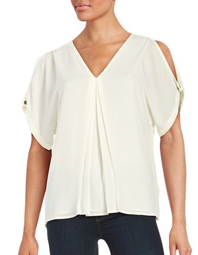 046eb4812d8a Michael Michael Kors Petite Cold Shoulder Blouse Women s Cream Petite