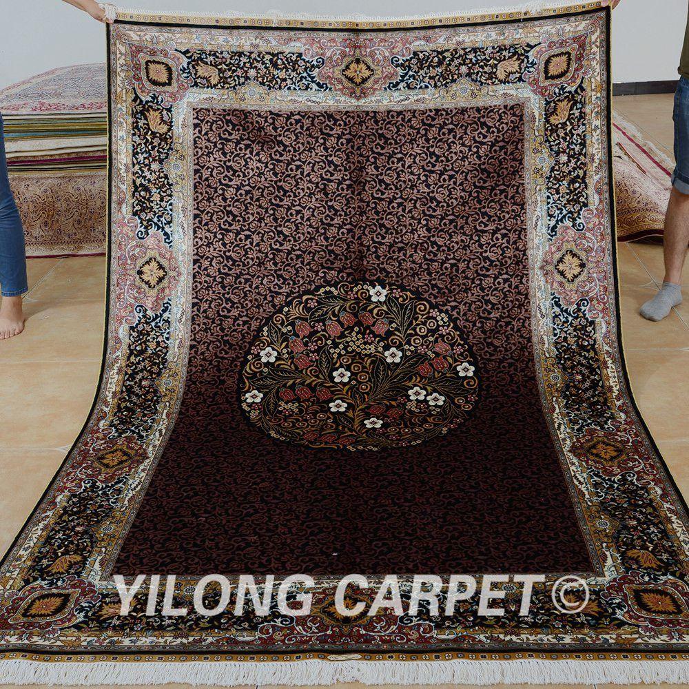>> Click to Buy << Yilong 5'x7.5' Iran handmade carpet brown medallion handmade exquisite persian silk rug (0186) #Affiliate