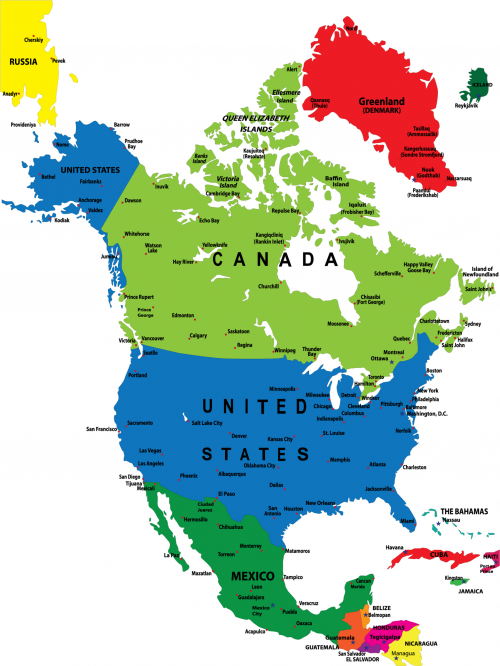 North American Colorful Map Geography Homeschool And Social Studies - What countries are in north america