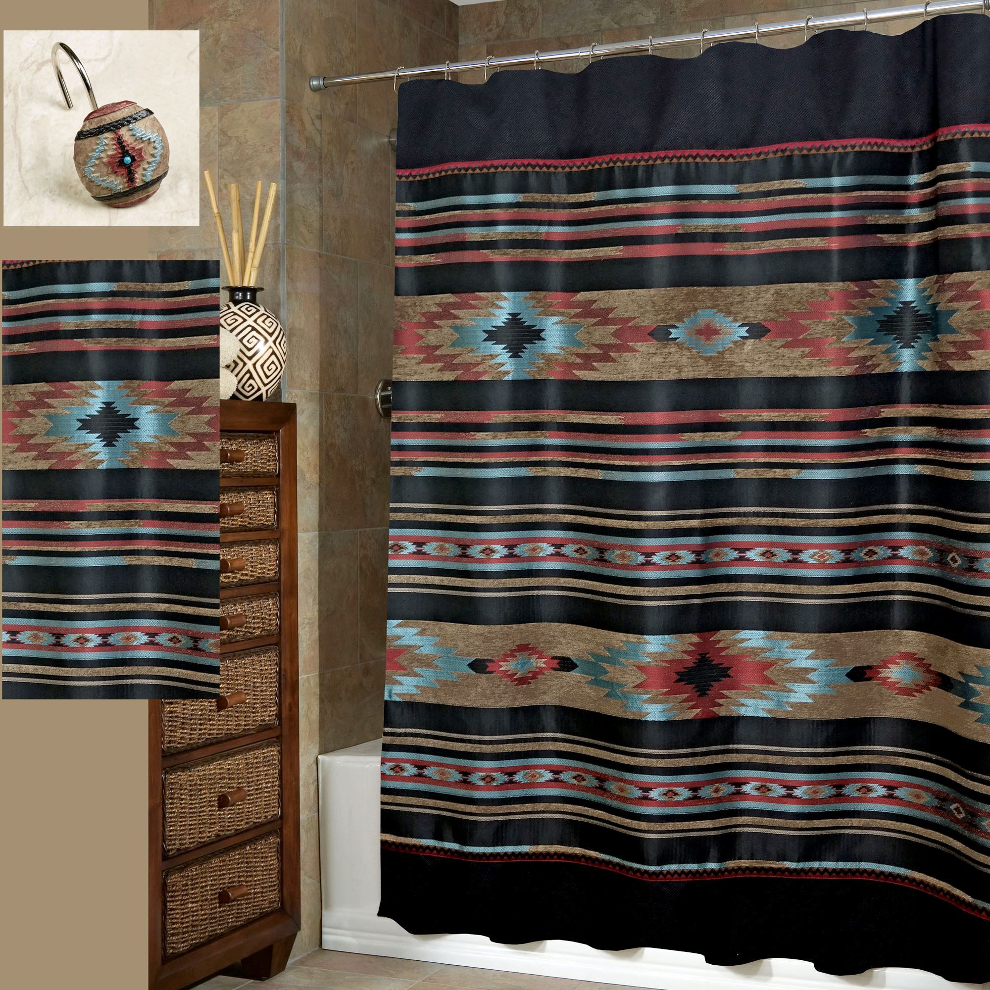 Santa Fe Southwest Shower Curtain By Veratex Southwest Shower