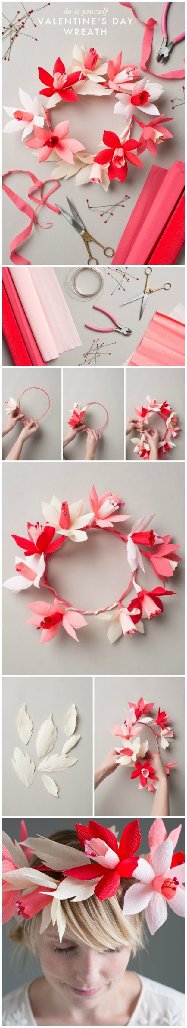 Valentine's paper flower wreath | DIY Valentines Day Ideas | DIY Fun Tips #valentines day wreath diy paper flowers #valentines day crafts to sell etsy #crochetedflowers