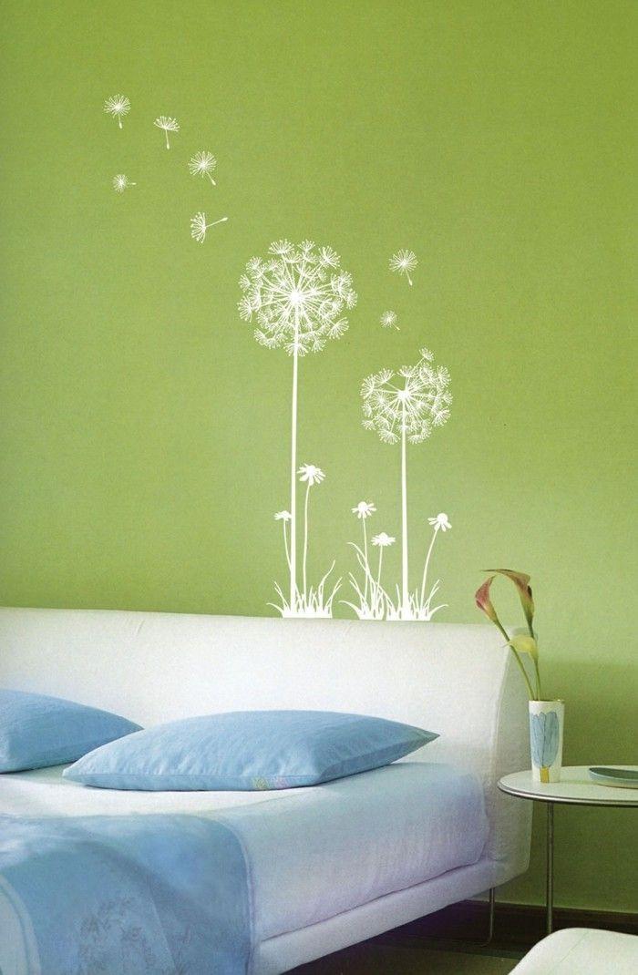 Coole Wandtattoos Wohnideen Schlafzimmer Grüne Wand Pusteblume Wandtattoo
