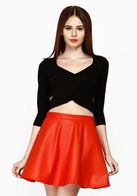 d8219ea9ccc Cut Away Crop Top - Black TOP01214A - Faballey Tops and tunics for women