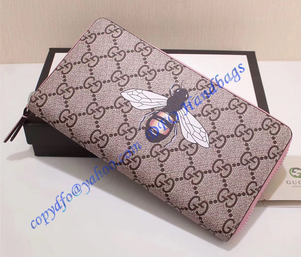 a9de1375985 Gucci Kingsnake Print GG Supreme Zip Around Wallet with Pink Leather Trim
