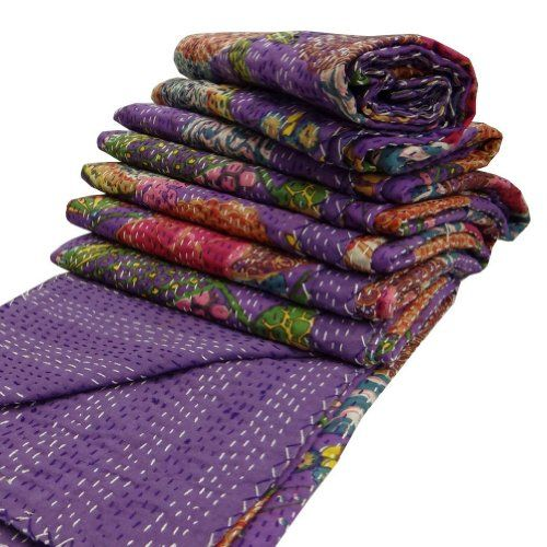 """India Purple Kantha Quilt King Size Reversible Bedspread Handmade Cotton Floral Bedsheet Home Décor 106"""" X 88"""" Inches -- See this great product."""
