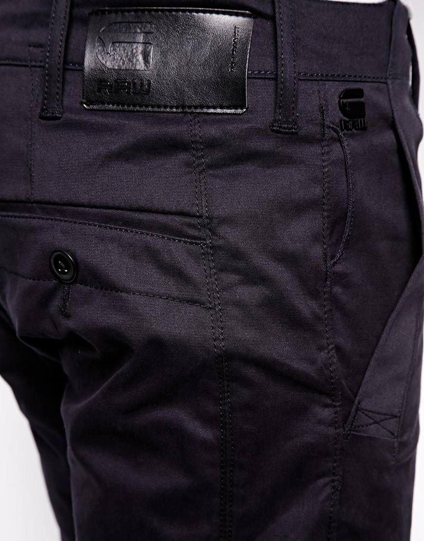 G-Star Raw Correct Bronson 3D Slim Fit Cotton Twill Chinos in Mazarine Blue  |
