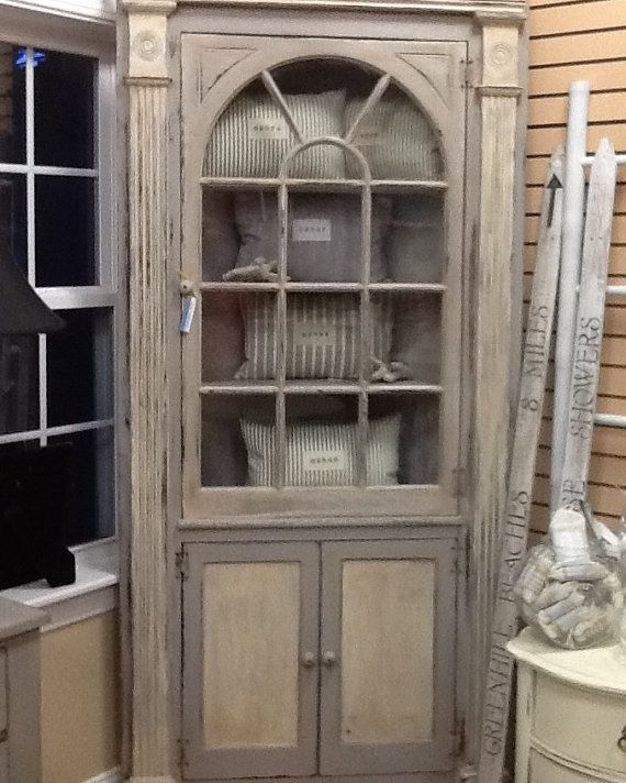 Corner hutch solid vintage oak repainted by EclecticBungalowRI, $875.00  Absolutely freakin GORGEOUS. - Corner Hutch Solid Vintage Oak Repainted By EclecticBungalowRI
