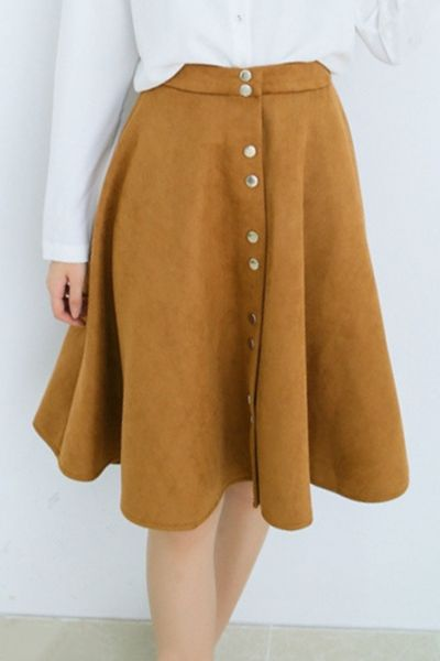 Faux Suede Button Front High Waist Skirt