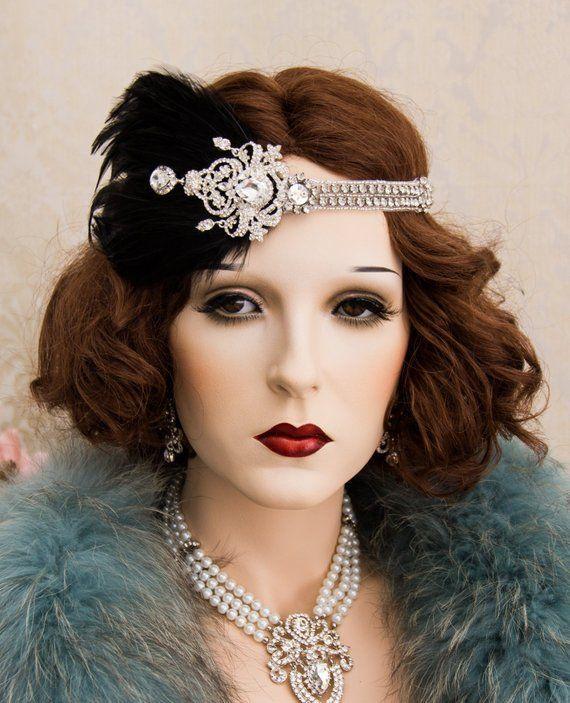 1920s Roaring Flapper Headbands, Great Gatsby Headpiece, Rhinestone Crystal Head…