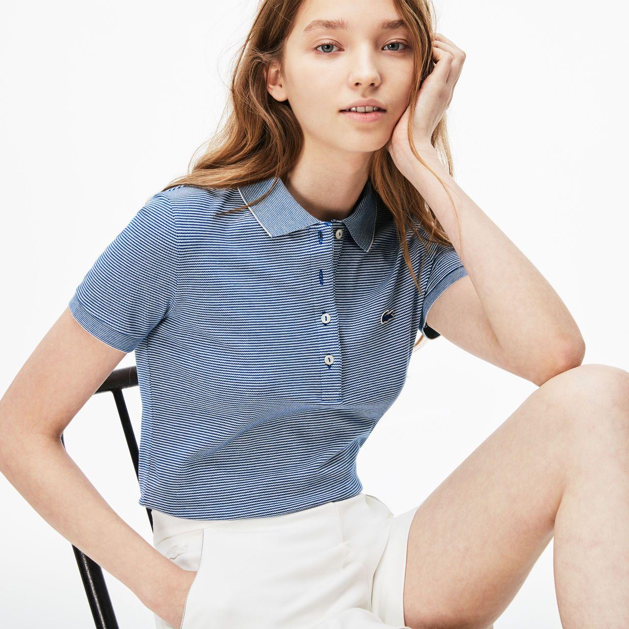 a06498d9 Women's Slim Fit Pinstriped Piqué Polo   LACOSTE   walk walk fashion ...