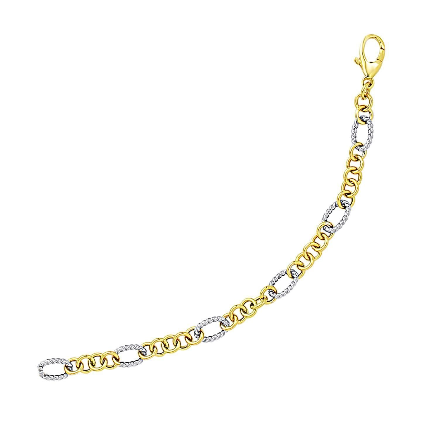 K twotone gold rope motif oval and round link chain bracelet