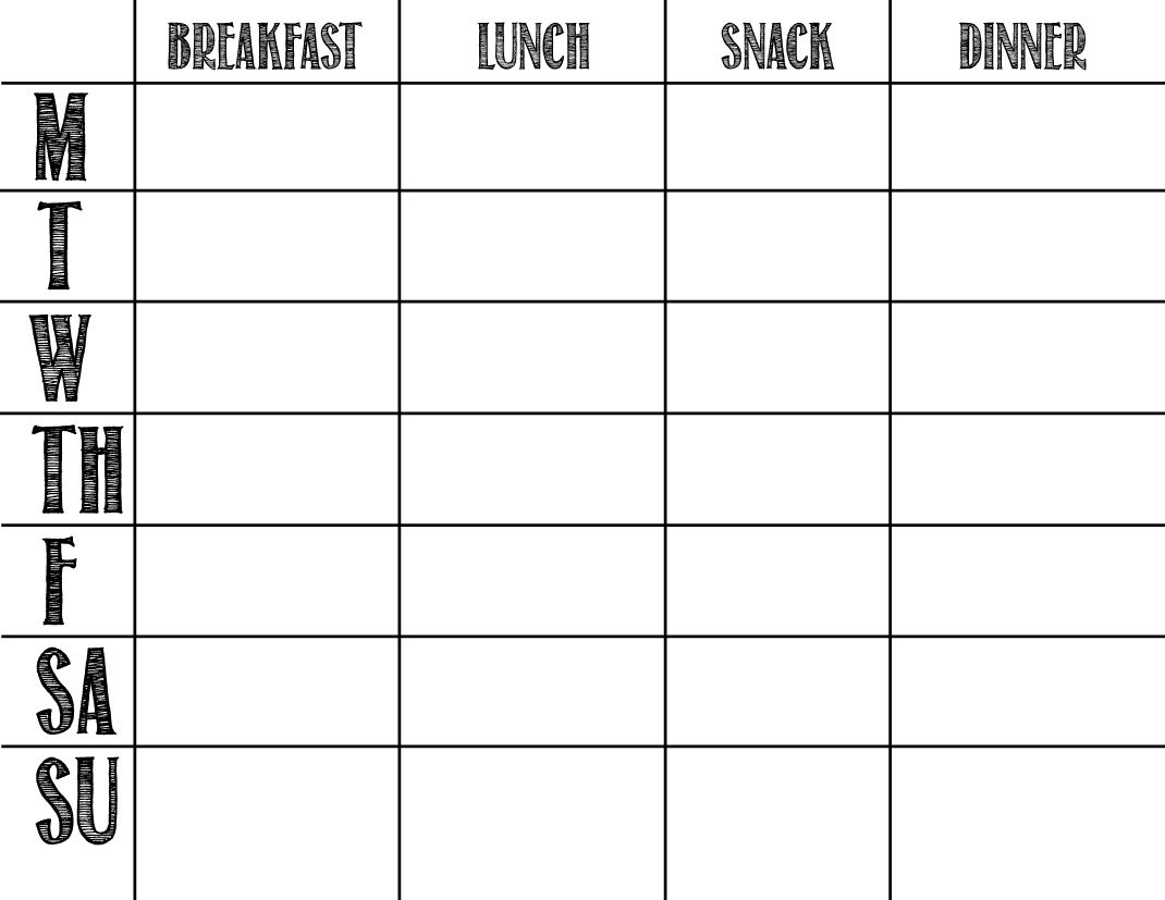Updated free monthly menu planning template and meal list – Diet Menu Template