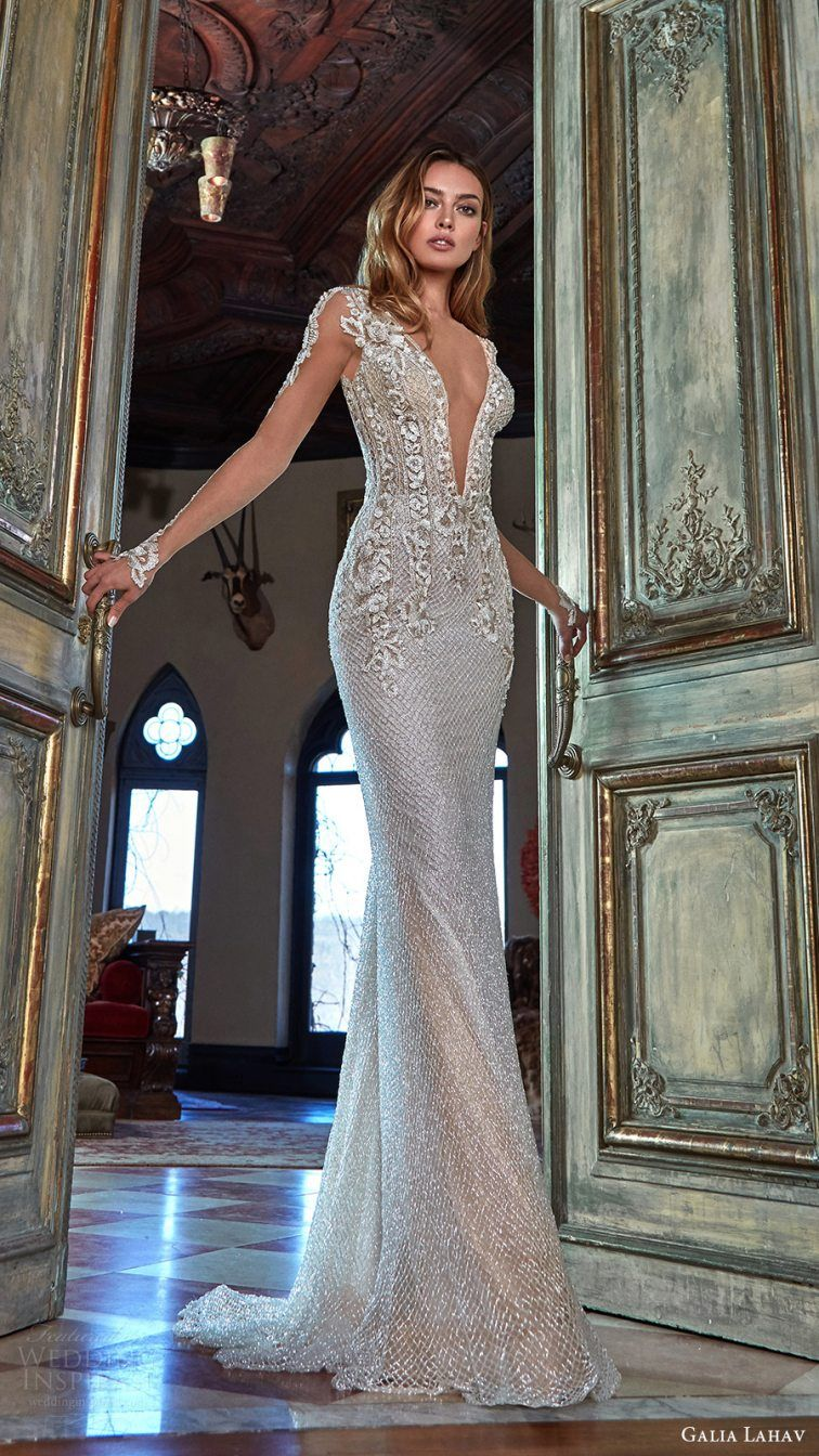 e11a275027 Galia Lahav Bridal Spring 2017 Illusion Long Sleeves Deep Vneck Beaded  Sheath Wedding Dress (bella ( Lahav Wedding Dresses Good Ideas  6)
