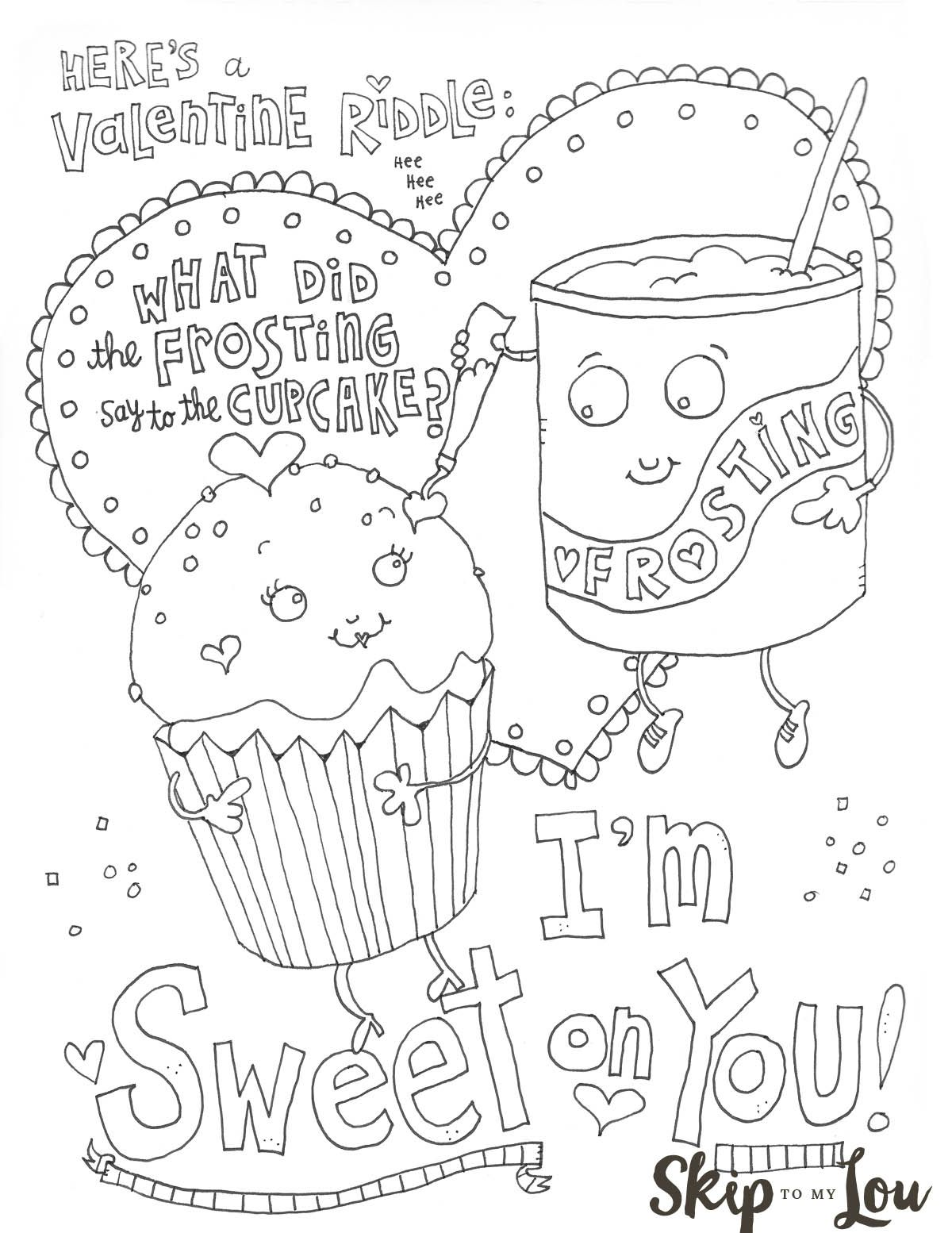 Free Printable Sweet on you Valentine Coloring Sheet. An easy craft ...