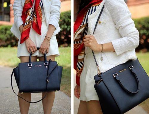 861184bc65b1 Michael Kors Selma Large Black Leather Satchel Bag | eBay | Fashion ...