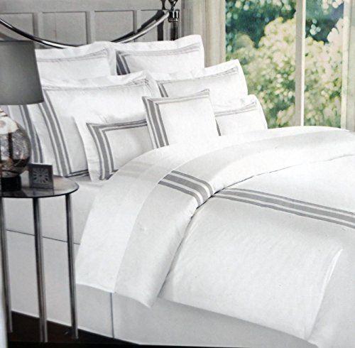 Amazon Com Tahari Home 3 Piece Full Queen Duvet Cover Set Solid White With Gray Trim Tahari Bedding Tahari Home Luxury Bedding Sets