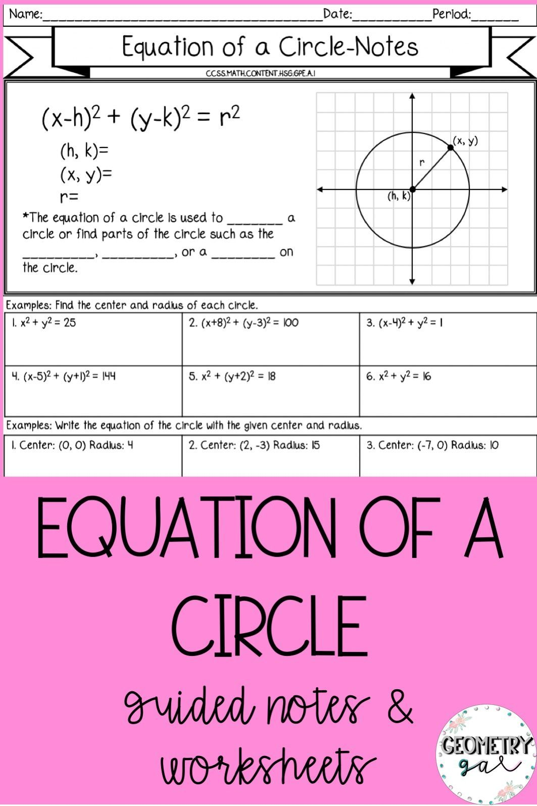 Equation Of A Circle Guided Notes And Worksheets With Images